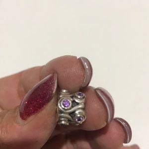 Pandora Sterling Silver Purple Stone Charm